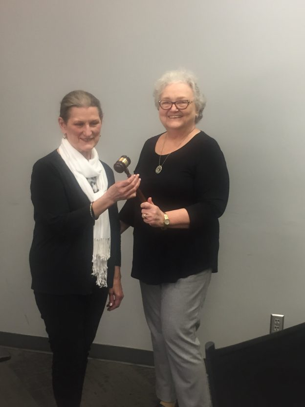 May 2019 Outgoing President Sharon Bounds passes the gavel to incoming President Eleanor Wright